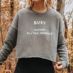 'busy saving all the animals' crop hoodie yoga
